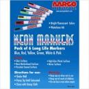 Aarco MFL-6 Dry Erase Neon Makers, 6 Pack width=