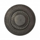 "10 Strawberry Street AZT-340(BLK-SLV) Aztec Black / Silver Glass Charger Plate 13"" (Set of 6) width="