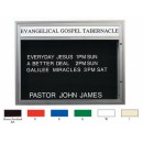 Aarco DBM3343IV Double Sided Illuminated Community Board with Header, Ivory Powder Finish 33' x 43' width=