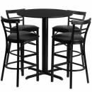 Flash Furniture 24'' Round Black Laminate Table Set with 4 Ladder Back Metal Bar Stools - Black Vinyl Seat [HDBF1033-GG] width=