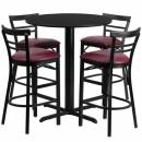 Flash Furniture 24'' Round Black Laminate Table Set with 4 Ladder Back Metal Bar Stools - Burgundy Vinyl Seat [HDBF1037-GG] width=
