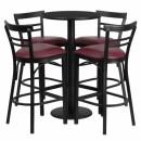 Flash Furniture 24'' Round Black Laminate Table Set with 4 Ladder Back Metal Bar Stools - Burgundy Vinyl Seat [RSRB1037-GG] width=