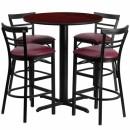 Flash Furniture 24'' Round Mahogany Laminate Table Set with 4 Ladder Back Metal Bar Stools - Burgundy Vinyl Seat [HDBF1038-GG] width=