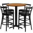 Flash Furniture 24'' Round Natural Laminate Table Set with 4 Ladder Back Metal Bar Stools - Black Vinyl Seat [HDBF1035-GG] width=