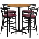 Flash Furniture 24'' Round Natural Laminate Table Set with 4 Ladder Back Metal Bar Stools - Burgundy Vinyl Seat [HDBF1039-GG] width=