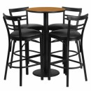 Flash Furniture 24'' Round Natural Laminate Table Set with 4 Ladder Back Metal Bar Stools - Black Vinyl Seat [RSRB1035-GG] width=