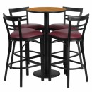 Flash Furniture 24'' Round Natural Laminate Table Set with 4 Ladder Back Metal Bar Stools - Burgundy Vinyl Seat [RSRB1039-GG] width=
