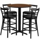 Flash Furniture 24'' Round Walnut Laminate Table Setwith 4 Ladder Back Metal Bar Stools - Black Vinyl Seat [HDBF1036-GG] width=