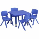 Flash Furniture 24'' Square Adjustable Blue Plastic Activity Table Set with 4 School Stack Chairs [YU-YCX-0023-2-SQR-TBL-BLUE-E-GG] width=