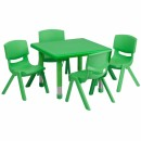 Flash Furniture 24'' Square Adjustable Green Plastic Activity Table Set with 4 School Stack Chairs [YU-YCX-0023-2-SQR-TBL-GREEN-E-GG] width=