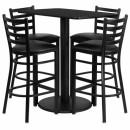 Flash Furniture  24'' x 42'' Rectangular Black Laminate Table Set with 4 Ladder Back Metal Bar Stools - Black Vinyl Seat [RSRB1017-GG] width=