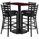 Flash Furniture  24'' x 42'' Rectangular Mahogany Laminate Table Set with 4 Ladder Back Metal Bar Stools - Black Vinyl Seat [RSRB1018-GG] width=