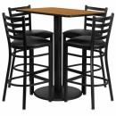 Flash Furniture  24'' x 42'' Rectangular Natural Laminate Table Set with 4 Ladder Back Metal Bar Stools - Black Vinyl Seat [RSRB1019-GG] width=