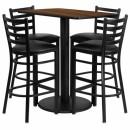 Flash Furniture  24'' x 42'' Rectangular Walnut Laminate Table Set with 4 Ladder Back Metal Bar Stools - Black Vinyl Seat [RSRB1020-GG] width=