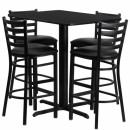 Flash Furniture 24''W x 42''L Rectangular Black Laminate Table Set with 4 Ladder Back Metal Bar Stools - Black Vinyl Seat [HDBF1017-GG] width=
