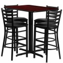 Flash Furniture 24''W x 42''L Rectangular Mahogany Laminate Table Set with 4 Ladder Back Metal Bar Stools - Black Vinyl Seat [HDBF1018-GG] width=