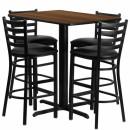 Flash Furniture 24''W x 42''L Rectangular Walnut Laminate Table Set with 4 Ladder Back Metal Bar Stools - Black Vinyl Seat [HDBF1020-GG] width=