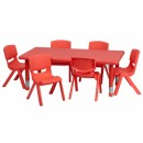 Flash Furniture 24''W x 48''L Adjustable Rectangular Red Plastic Activity Table Set with 6 School Stack Chairs [YU-YCX-0013-2-RECT-TBL-RED-E-GG] width=
