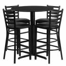 Flash Furniture  30'' Round Black Laminate Table Set with 4 Ladder Back Metal Bar Stools - Black Vinyl Seat [HDBF1021-GG] width=