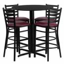 Flash Furniture  30'' Round Black Laminate Table Set with 4 Ladder Back Metal Bar Stools - Burgundy Vinyl Seat [HDBF1025-GG] width=