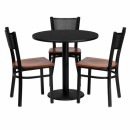 Flash Furniture 30'' Round Black Laminate Table Set with 3 Grid Back Metal Chairs - Cherry Wood Seat [MD-0007-GG] width=