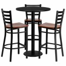 Flash Furniture 30'' Round Black Laminate Table Set with 3 Ladder Back Metal Bar Stools - Cherry Wood Seat [MD-0013-GG] width=