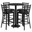 Flash Furniture 30'' Round Black Laminate Table Set with 4 Ladder Back Metal Bar Stools - Black Vinyl Seat [RSRB1021-GG] width=