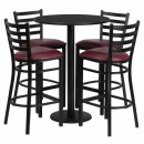 Flash Furniture 30'' Round Black Laminate Table Set with 4 Ladder Back Metal Bar Stools - Burgundy Vinyl Seat [RSRB1025-GG] width=