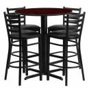 Flash Furniture 30'' Round Mahogany Laminate  Table Set with 4 Ladder Back Metal Bar Stools - Black Vinyl Seat [HDBF1022-GG] width=