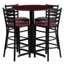 Flash Furniture 30'' Round Mahogany Laminate  Table Set with 4 Ladder Back Metal Bar Stools - Burgundy Vinyl Seat [HDBF1026-GG] width=