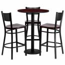 Flash Furniture 30'' Round Mahogany Laminate  Table Set with 3 Grid Back Metal Bar Stools - Mahogany Wood Seat [MD-0017-GG] width=