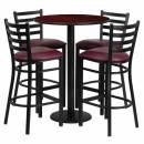 Flash Furniture 30'' Round Mahogany Laminate  Table Set with 4 Ladder Back Metal Bar Stools - Burgundy Vinyl Seat [RSRB1026-GG] width=