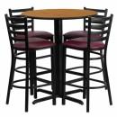 Flash Furniture 30'' Round Natural Laminate Table Set with 4 Ladder Back Metal Bar Stools - Burgundy Vinyl Seat [HDBF1027-GG] width=