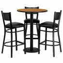 Flash Furniture 30'' Round Natural Laminate Table Set with 3 Grid Back Metal Bar Stools - Black Vinyl Seat [MD-0016-GG] width=