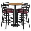 Flash Furniture 30'' Round Natural Laminate Table Set with 4 Ladder Back Metal Bar Stools - Burgundy Vinyl Seat [RSRB1027-GG] width=