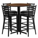 Flash Furniture 30'' Round Walnut Laminate Table Set with 4 Ladder Back Metal Bar Stools - Black Vinyl Seat [HDBF1024-GG] width=