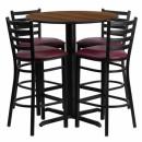 Flash Furniture 30'' Round Walnut Laminate Table Set with 4 Ladder Back Metal Bar Stools - Burgundy Vinyl Seat [HDBF1028-GG] width=