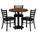 Flash Furniture 30'' Round Walnut Laminate Table Set with 3 Ladder Back Metal Chairs - Black Vinyl Seat [MD-0002-GG] width=