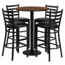 Flash Furniture 30'' Round Walnut Laminate Table Set with 4 Ladder Back Metal Bar Stools - Black Vinyl Seat [RSRB1024-GG] width=