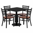Flash Furniture 30'' Square Black Laminate Table Set with 4 Ladder Back Metal Chairs - Cherry Wood Seat [MD-0003-GG] width=