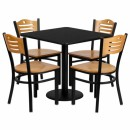 Flash Furniture 30'' Square Black Laminate Table Set with 4 Wood Slat Back Metal Chairs - Natural Wood Seat [MD-0010-GG] width=