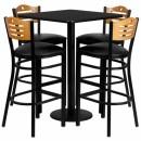 Flash Furniture 30'' Square Black Laminate Table Set with 4 Wood Slat Back Metal Bar Stools - Black Vinyl Seat [MD-0019-GG] width=