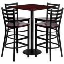 Flash Furniture 30'' Square Mahogany Laminate Table Set with 4 Ladder Back Metal Bar Stools - Mahogany Wood Seat [MD-0014-GG] width=
