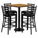 Flash Furniture 30'' Square Natural Laminate Table Set with 4 Ladder Back Metal Bar Stools - Black Vinyl Seat [MD-0012-GG] width=