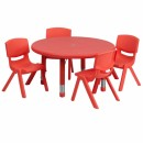 Flash Furniture 33'' Round Adjustable Red Plastic Activity Table Set with 4 School Stack Chairs [YU-YCX-0073-2-ROUND-TBL-RED-E-GG] width=
