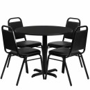 Flash Furniture 36'' Round Black Laminate Table Set with 4 Black Trapezoidal Back Banquet Chairs [HDBF1001-GG] width=