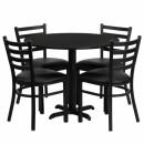 Flash Furniture 36'' Round Black Laminate Table Set with 4 Ladder Back Metal Chairs - Black Vinyl Seat [HDBF1029-GG] width=