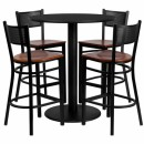 Flash Furniture 36'' Round Black Laminate Table Set with 4 Grid Back Metal Bar Stools - Cherry Wood Seat [MD-0018-GG] width=