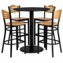 Flash Furniture 36'' Round Black Laminate Table Set with 4 Wood Slat Back Metal Bar Stools - Natural Wood Seat [MD-0020-GG] width=