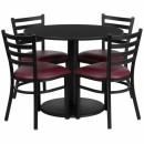 Flash Furniture 36'' Round Black Laminate Table Set with 4 Ladder Back Metal Chairs - Burgundy Vinyl Seat [RSRB1005-GG] width=